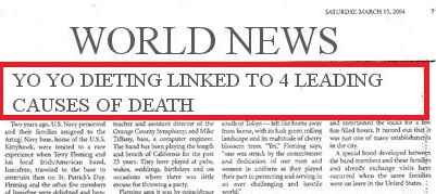 Yo Yo Dieting Linked With Leading Causes of Death